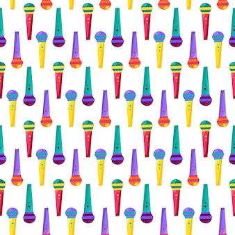 Modèle sans couture plat de microphone. disco, fête. karaoké, dessin animé de micro