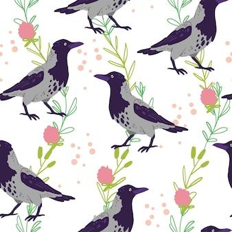 Modèle sans couture plat de vecteur avec des oiseaux de corneille dessinés à la main et des éléments floraux de nature sauvage isolés sur fond blanc. idéal pour emballer du papier, des cartes, des papiers peints, des étiquettes-cadeaux, des décorations de pépinière, etc.