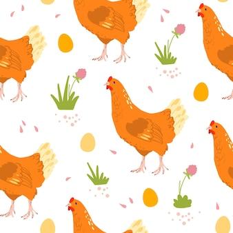 Modèle sans couture plat de vecteur avec des oiseaux de poule domestique de ferme dessinés à la main, des oeufs et des fleurs isolés sur fond blanc. idéal pour emballer du papier, des cartes, des papiers peints, des étiquettes-cadeaux, des décorations de pépinière, etc.