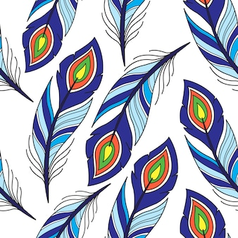 Modèle sans couture avec plume de paon