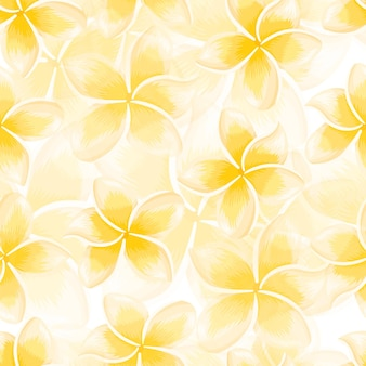 Modèle sans couture de plumeria floraison jaune exotique. fond d'écran de fleurs tropicales. toile de fond botanique abstraite. conception pour tissu, impression textile, emballage, couverture. illustration vectorielle.