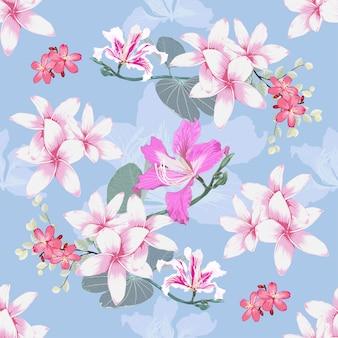 Modèle sans couture plumeria et fond de fleurs sauvages roses.
