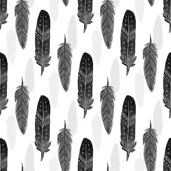 Modèle sans couture avec plumes aquarelles noires. texture de plumes ethniques