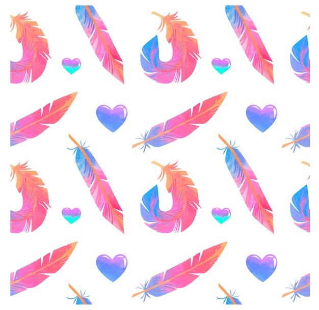 Modèle sans couture avec plumes arc-en-ciel