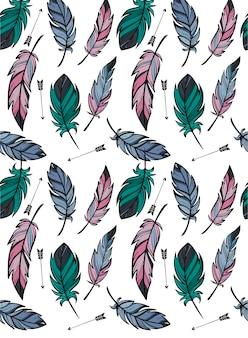 Modèle sans couture avec plumes et flèches esquissées à la main