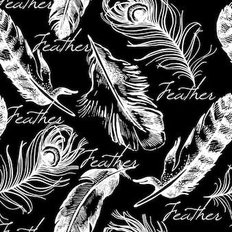 Modèle sans couture de plumes vintage. illustration vectorielle de croquis dessinés à la main