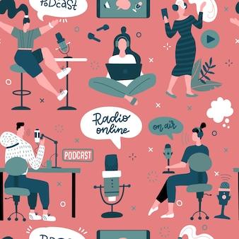 Modèle sans couture de podcast avec microphone pour ordinateur portable personnages personnages