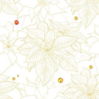 Modèle sans couture de poinsettia de noël. feuilles de poinsettia avec ligne dorée.