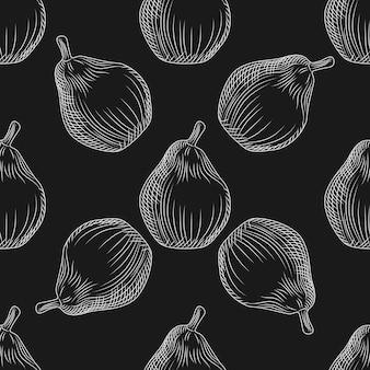 Modèle sans couture de poires dessinés à la main sur tableau noir. papier peint aux poires. toile de fond de style vintage de gravure. conception pour papier d'emballage, impression textile. illustration vectorielle
