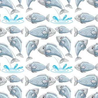 Modèle sans couture de poisson dessin animé