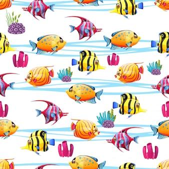 Modèle sans couture avec un poisson divers