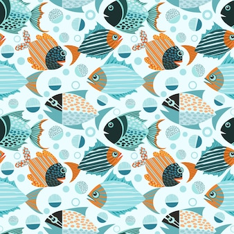 Modèle sans couture de poisson graphique