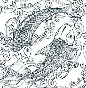 Modèle sans couture avec poisson koi dessiné à la main (carpe japonaise)