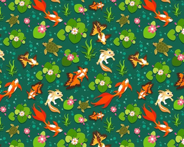 Modèle sans couture poisson koi, poisson rouge.