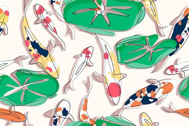Modèle sans couture de poisson koi avec style de ligne moderne