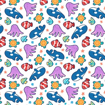 Modèle sans couture de poisson océan mignon