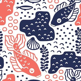 Modèle sans couture avec des poissons carpes.