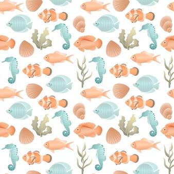 Modèle sans couture avec des poissons de différentes formes et tailles