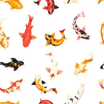 Modèle sans couture de poissons exotiques animaux de sang froid