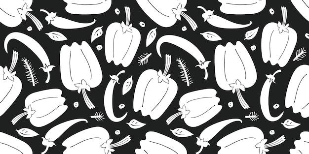 Modèle sans couture de poivre dessiné main. illustration de légumes frais de dessin animé biologique.