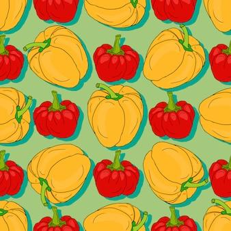 Modèle sans couture de poivron rouge et jaune