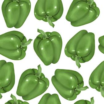 Modèle sans couture avec poivrons verts, dessinés à la main