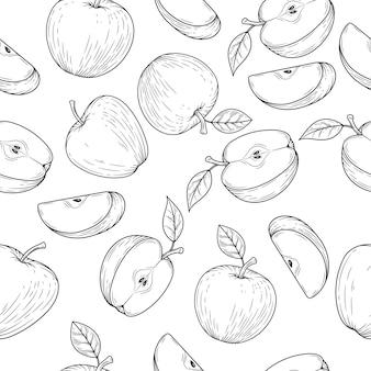 Modèle sans couture de pomme dans un style gravé