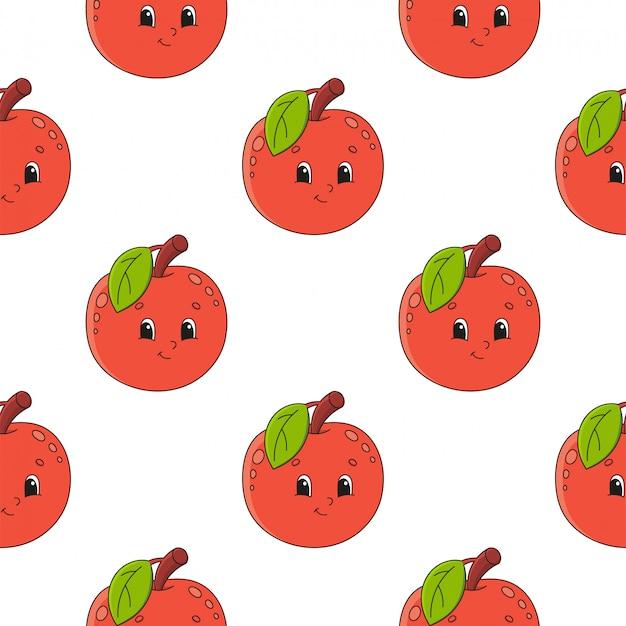 Modèle sans couture de pomme heureuse