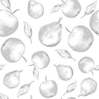 Modèle sans couture pomme et poire