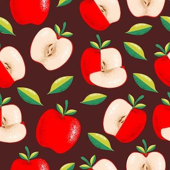 Modèle sans couture de pomme rouge