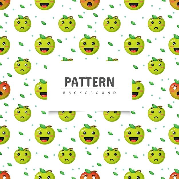 Modèle sans couture de pomme verte avec expression