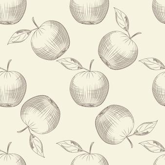 Modèle sans couture de pommes dessinées à la main. fond d'écran de pomme.