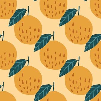 Modèle sans couture de pommes et feuilles bio