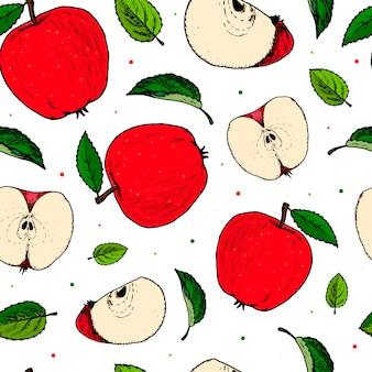 Modèle sans couture avec pommes et feuilles dessinées à la main