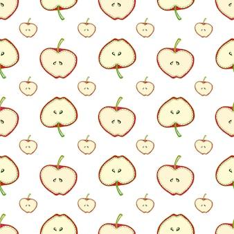 Modèle sans couture de pommes. fond de vecteur simple avec des fruits. pour le tissu, le textile, le papier peint, l'emballage