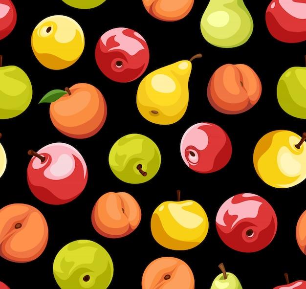 Modèle sans couture avec pommes, poires et pêches