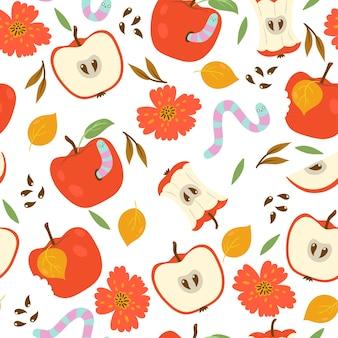 Modèle sans couture avec pommes et vers sur fond blanc.