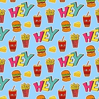 Modèle sans couture de pop art avec de la nourriture. papier d'emballage moderne