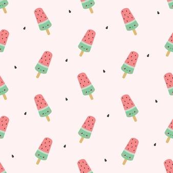 Modèle sans couture de popsicle mignon melon d'eau