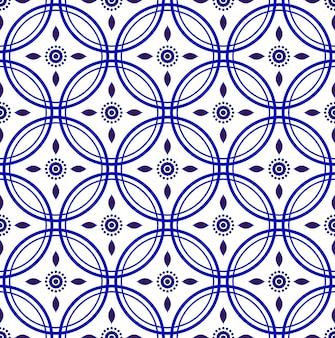 Modèle sans couture porcelaine indigo