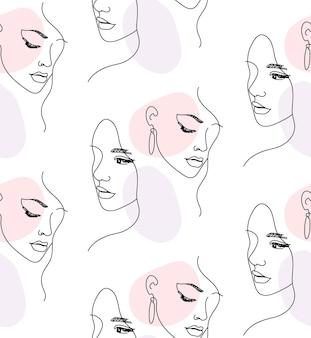 Modèle sans couture de portrait de visage de femme une ligne continue