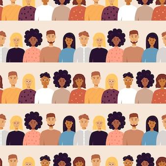 Modèle sans couture de portraits de personnes. illustration vectorielle de fond tendance.