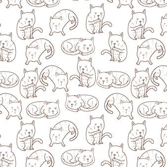 Modèle sans couture de poses de chat