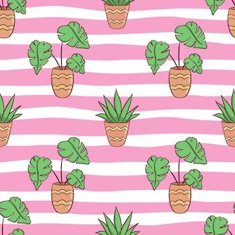 Modèle sans couture de pots de plantes d'été avec style doodle coloré