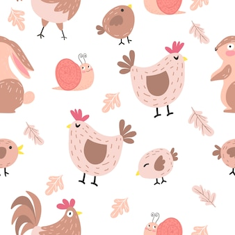 Modèle sans couture de poulet adorable dessin animé