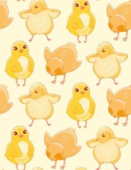 Modèle sans couture avec poulet mignon dessinés à la main sur un fond beige.