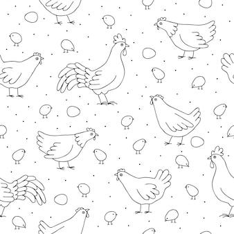 Modèle sans couture avec des poulets, des coqs.