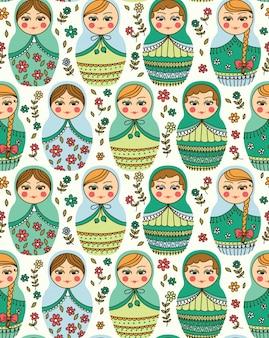 Modèle sans couture avec poupée russe