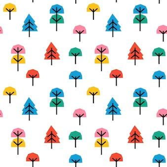 Modèle Sans Couture Pour Enfants Avec Arbre De Collage Coloré Abstrait. Vecteur Premium