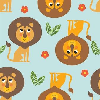 Modèle sans couture pour les enfants avec des feuilles de lions et des fleurs sur fond bleu illustration vectorielle